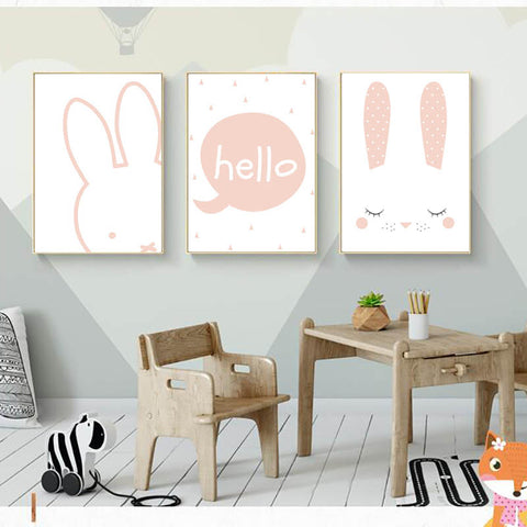 Kids Bunny Rabbit Hello Quote Gifts Girl Wall Art Canvas Decorative Pictures Poster Print Wall Art Room Kids Decor - Mia & Stitch