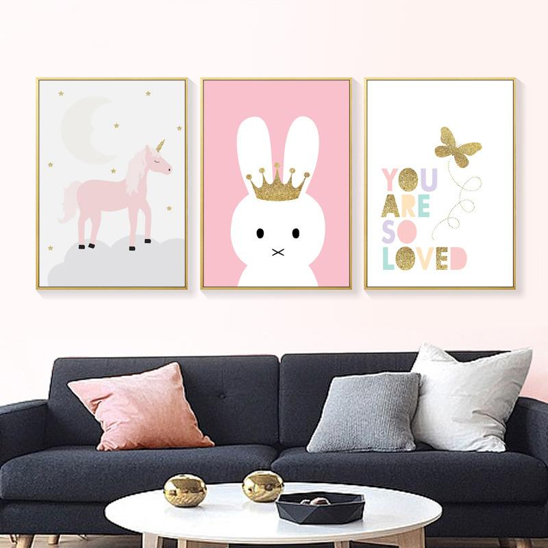 Cartoon Rabbit Animal Canvas Poster Quote Print Baby Kids Wall Art Decor