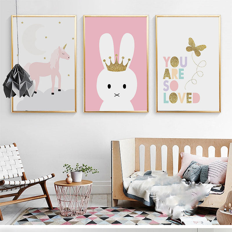 Kids Unicorn Bunny Rabbit Lovely Quote Gifts Girl Wall Art Canvas ...