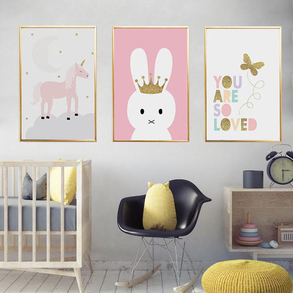 Kids Unicorn Bunny Rabbit Lovely Quote Gifts Girl Wall Art Canvas Decorative Pictures Poster Print Wall Art Room Kids Decor - Mia & Stitch