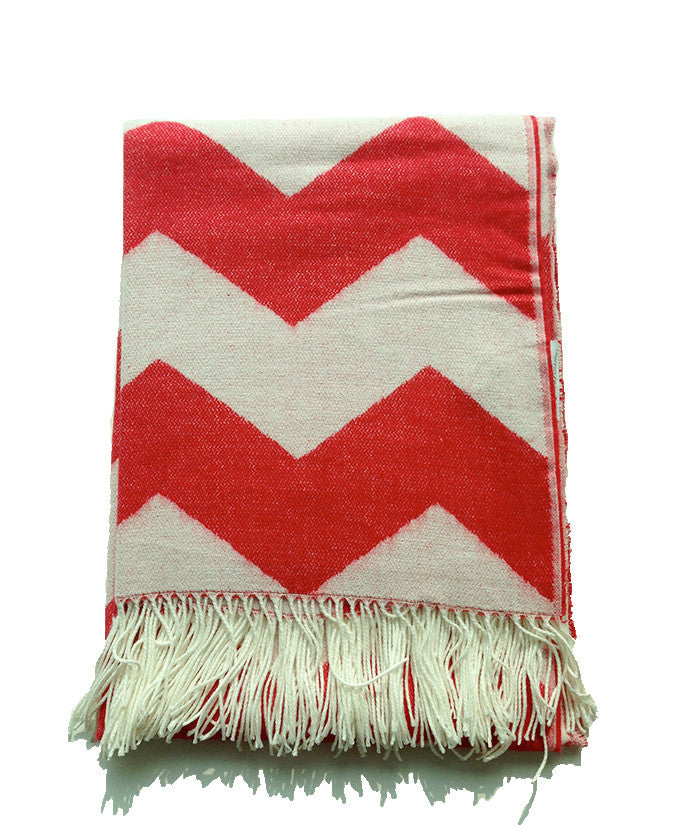 Throw Blanket - Red and White Chevron Zig Zag Pattern - Mia & Stitch