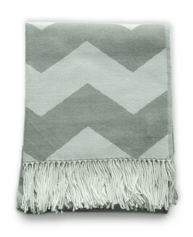Throw Blanket Grey And White Chevron Zig Zag Pattern Mia Stitch Impressive Grey And White Throw Blanket