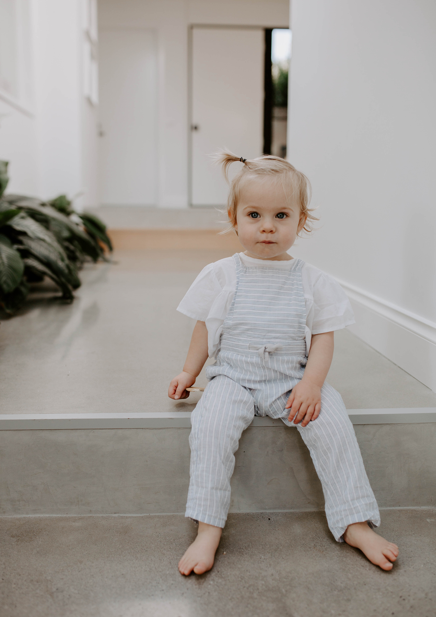 CHAMBRAY STRIPE CROSS BACK OVERALLS