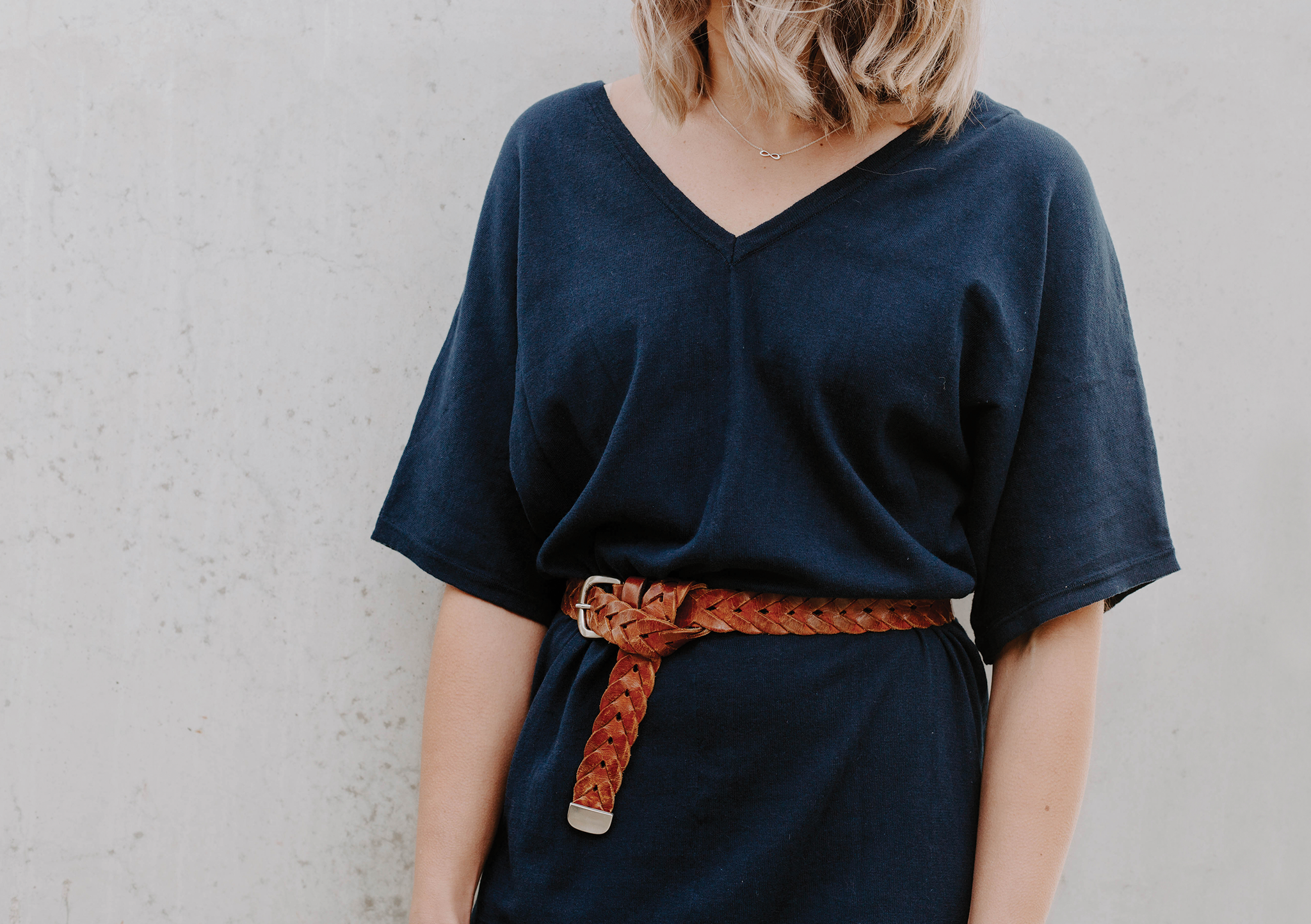 lola tie knit dress navy