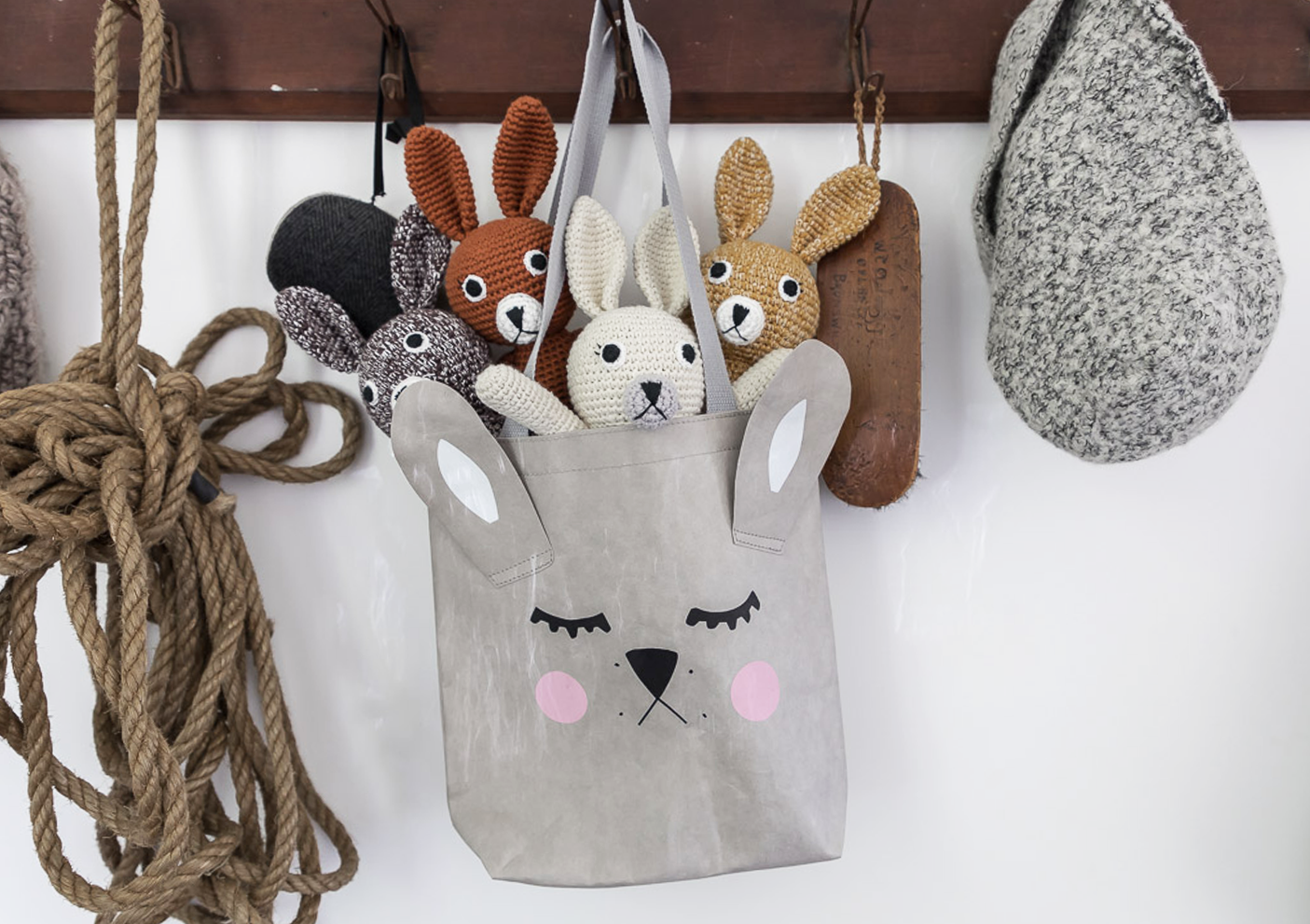 grey bunny washable paper tote bag