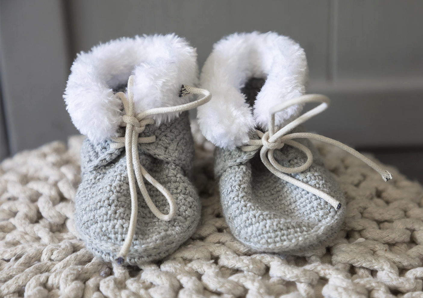 grey fur booties