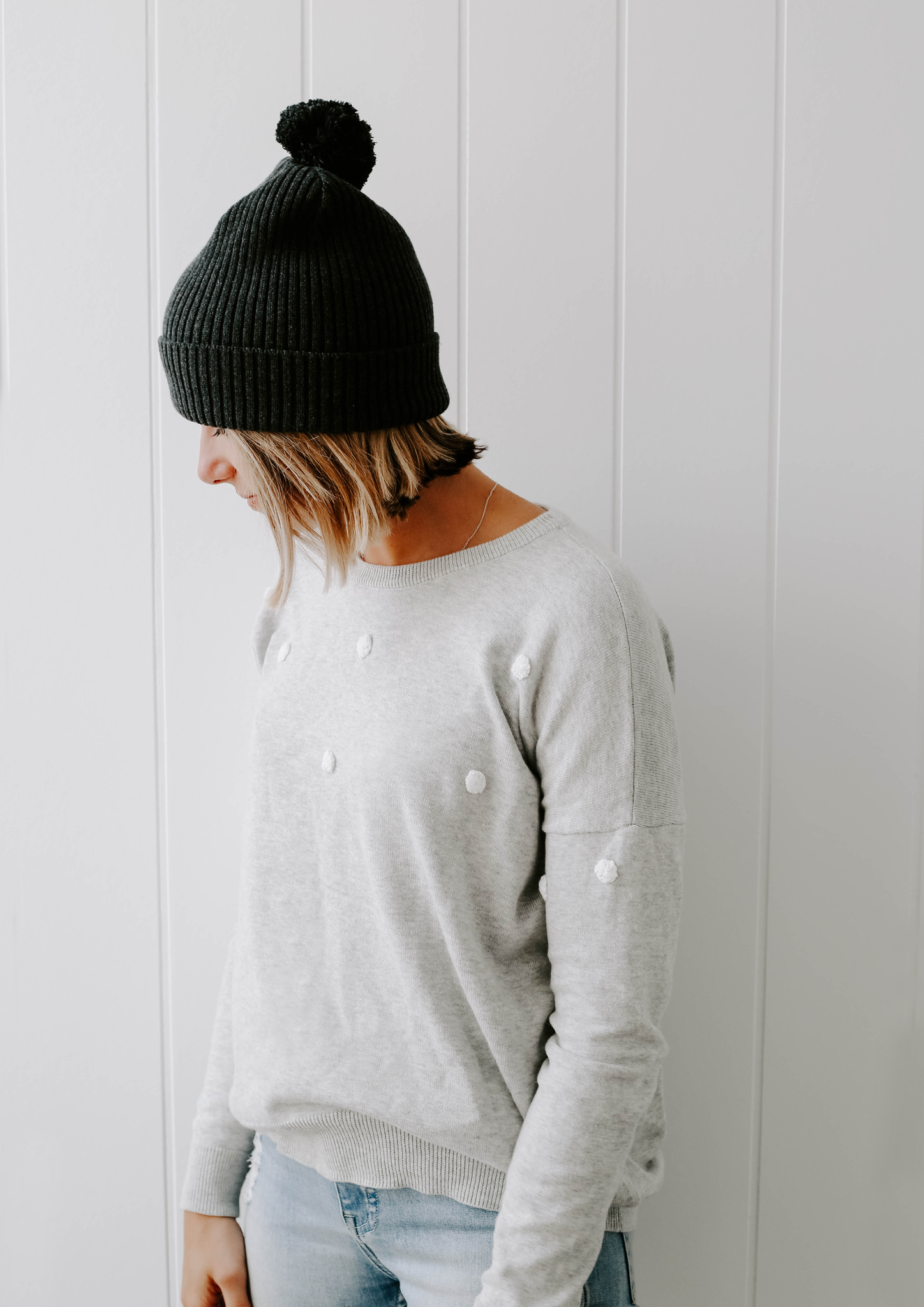 coco dot knit jumper grey