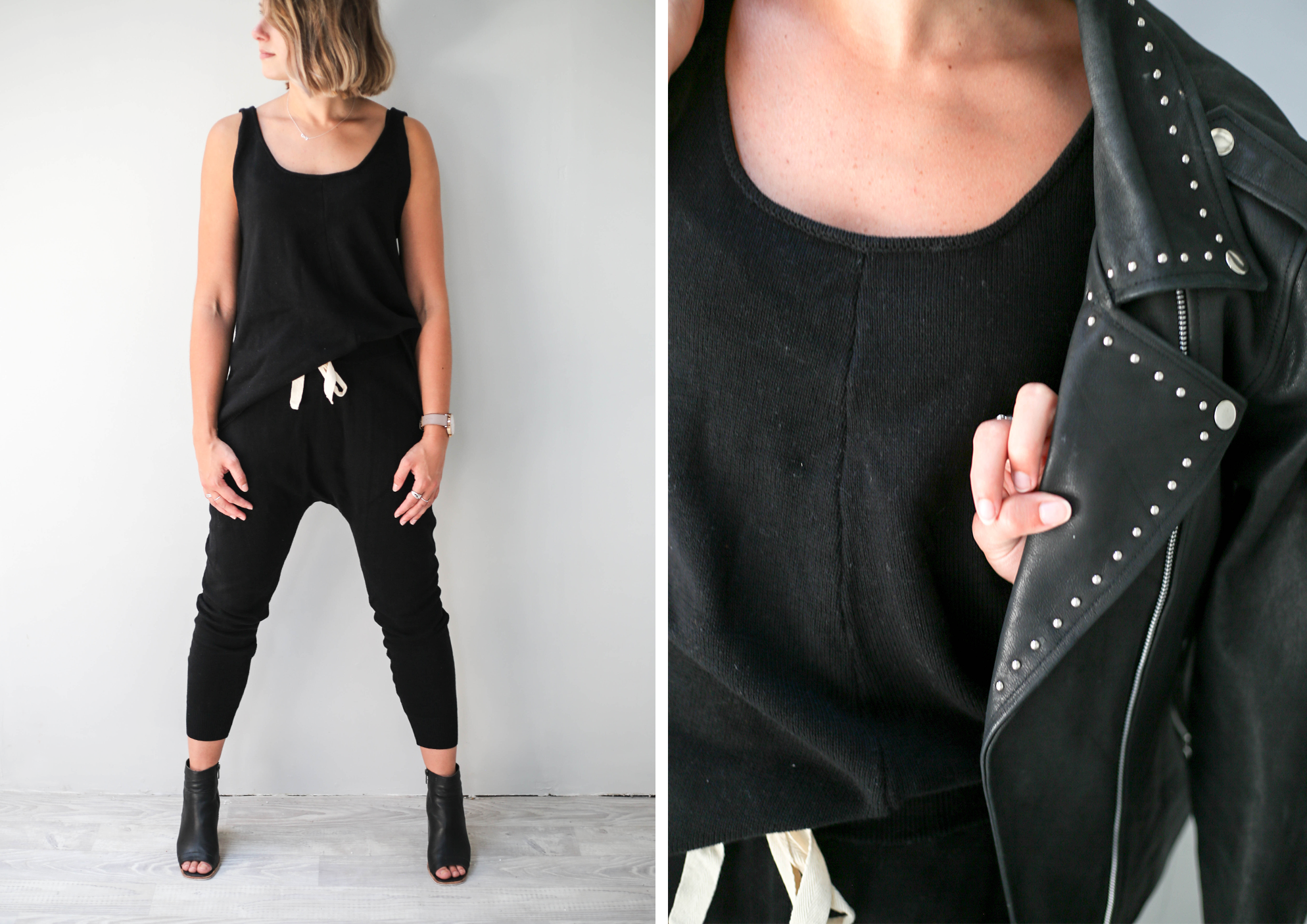 demi knit singlet black