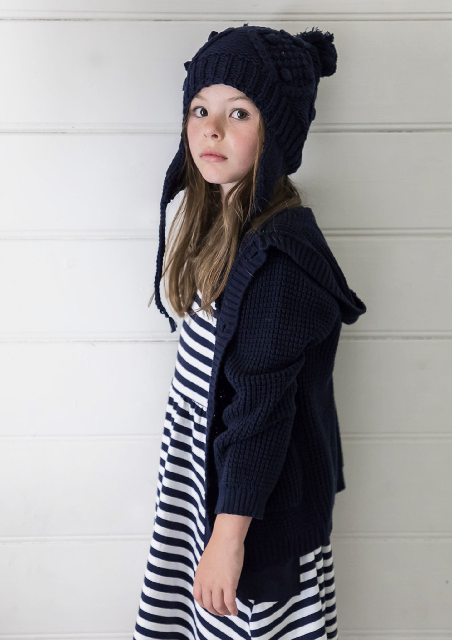 waffle knit hoodie navy