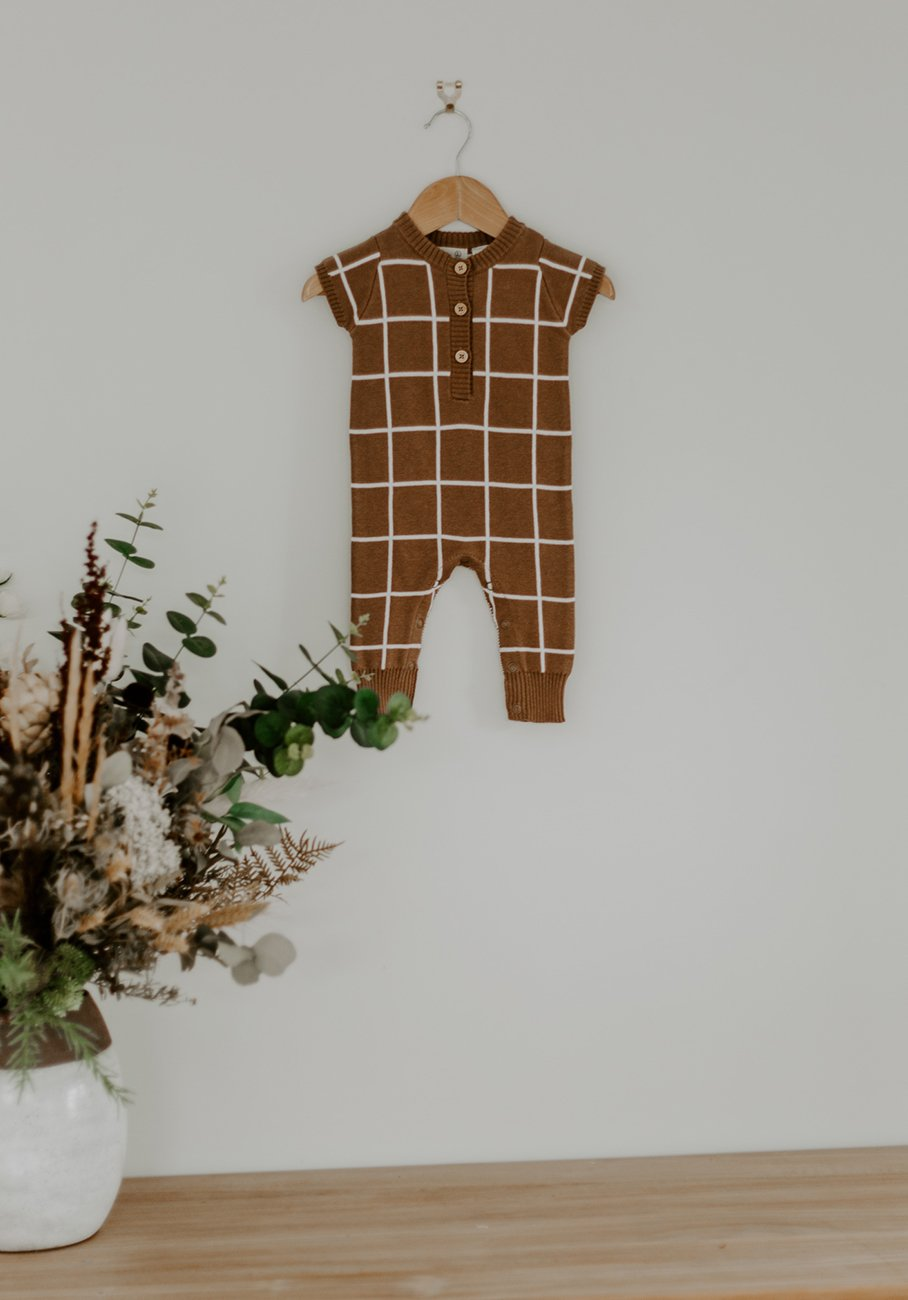 baby brown grid short sleeve jumpsuit