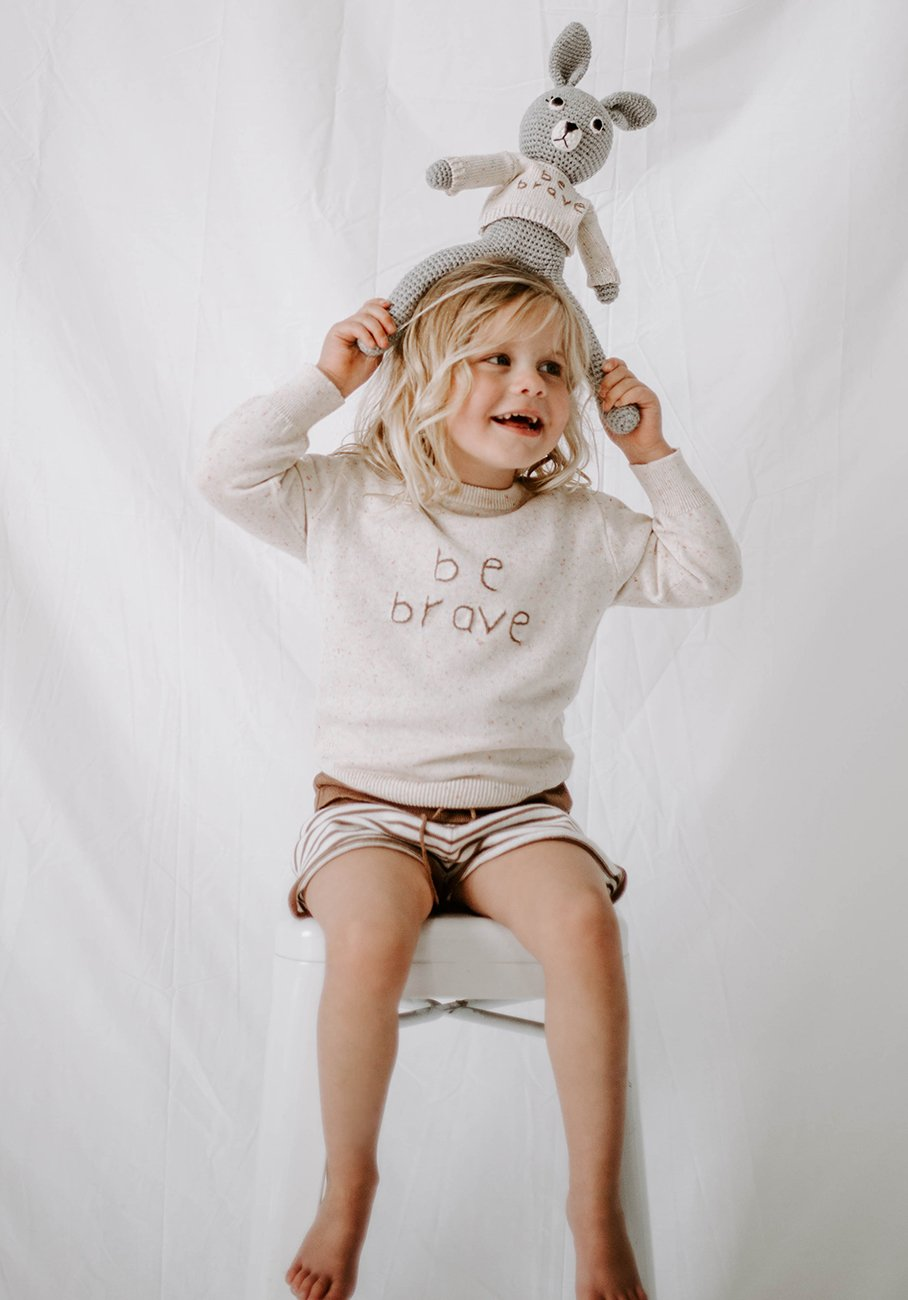 Kids knit jumper Be Brave