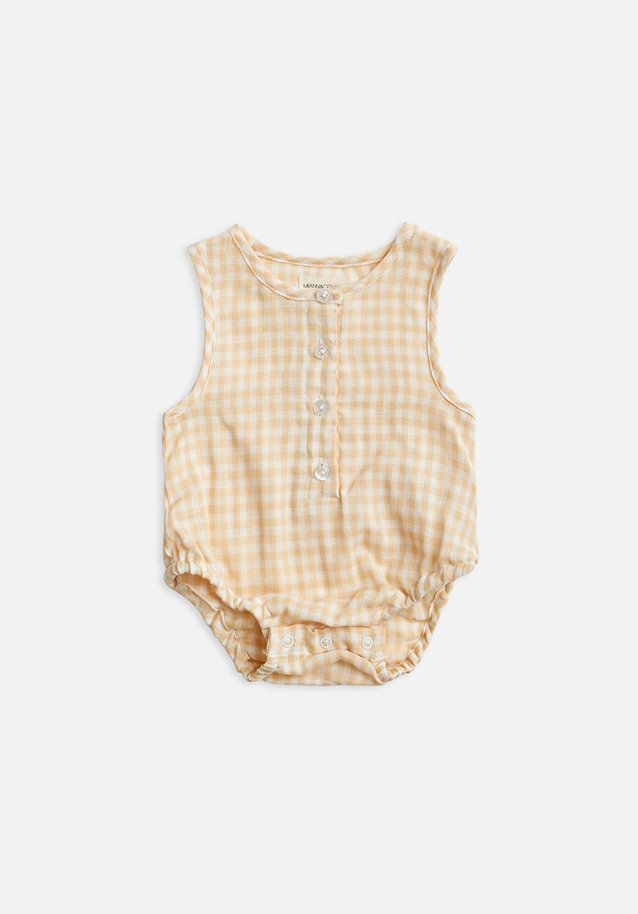 Yellow gingham short sleeve bodysuit