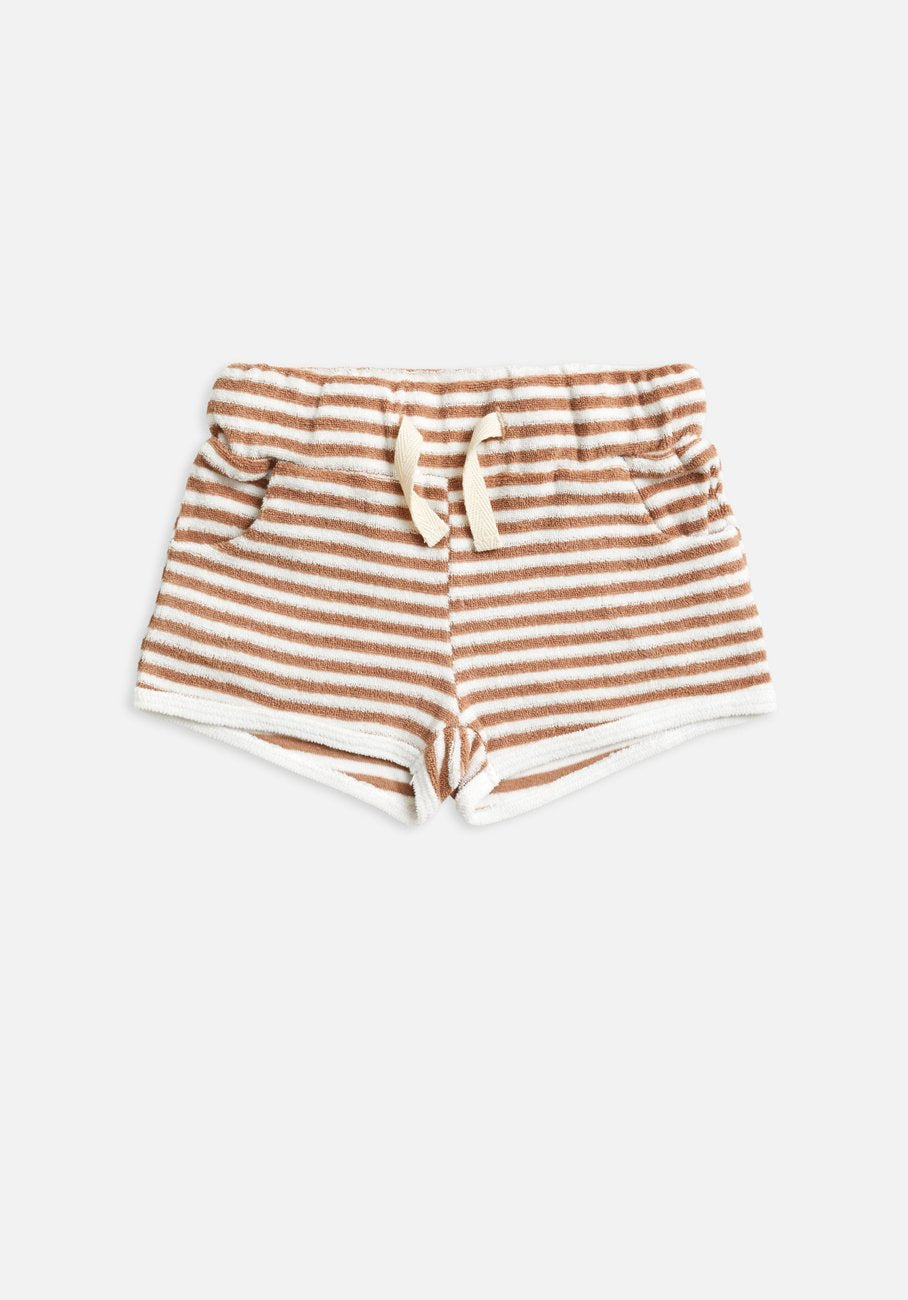 Miann & Co Kids - Terry Towelling Shorts - Café Au Lait Stripe