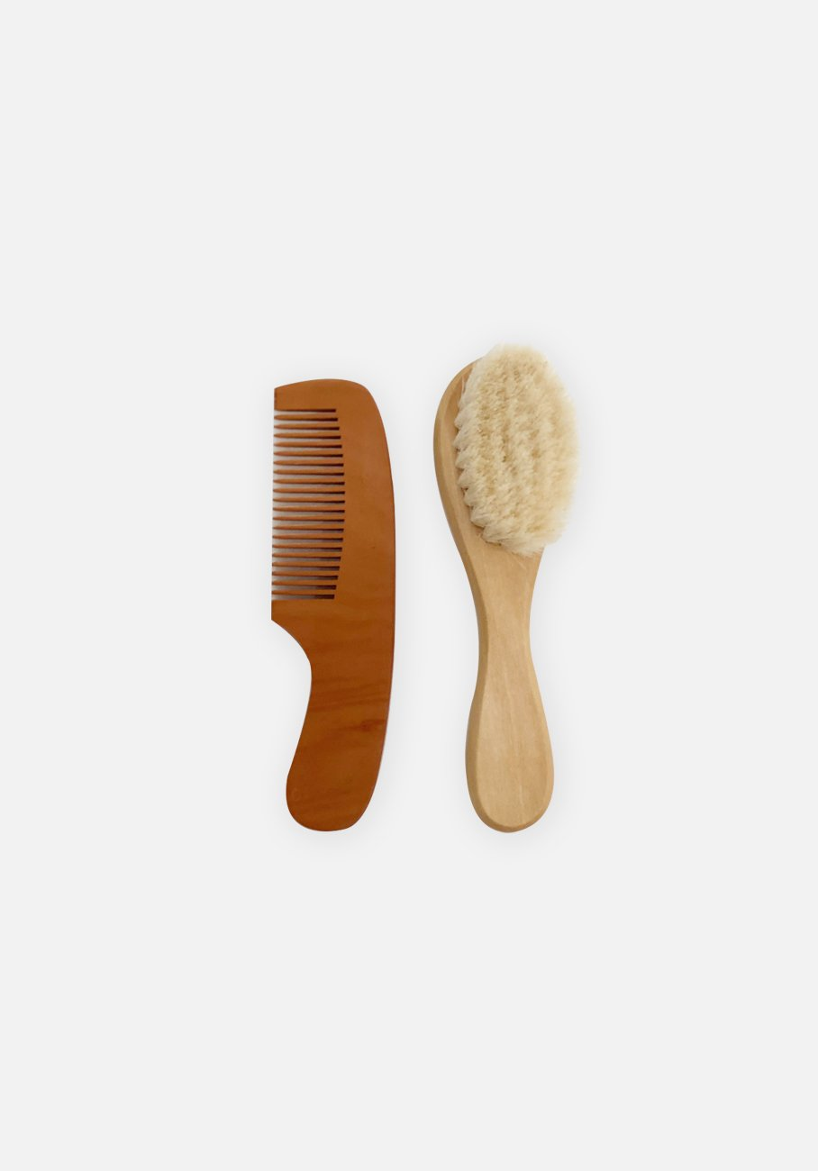 Natural Wooden Hair Brush Set