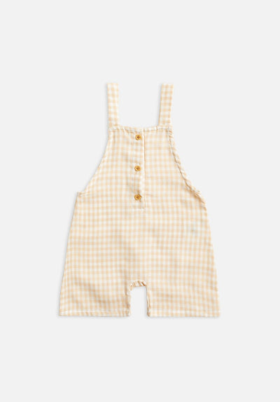 Kids Yellow gingham cropped overall