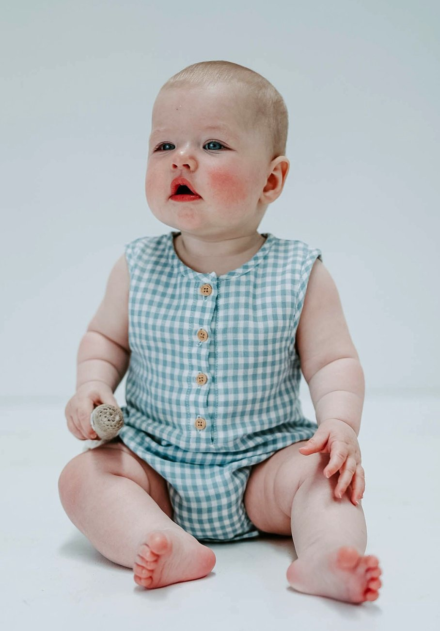Miann & Co Baby - Sleeveless Suit - Cornflower Gingham