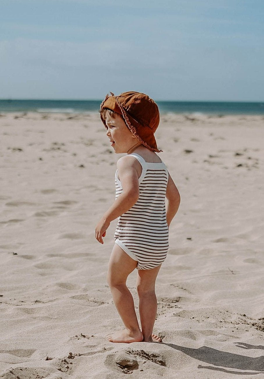 baby knitted brown stripe bodysuit