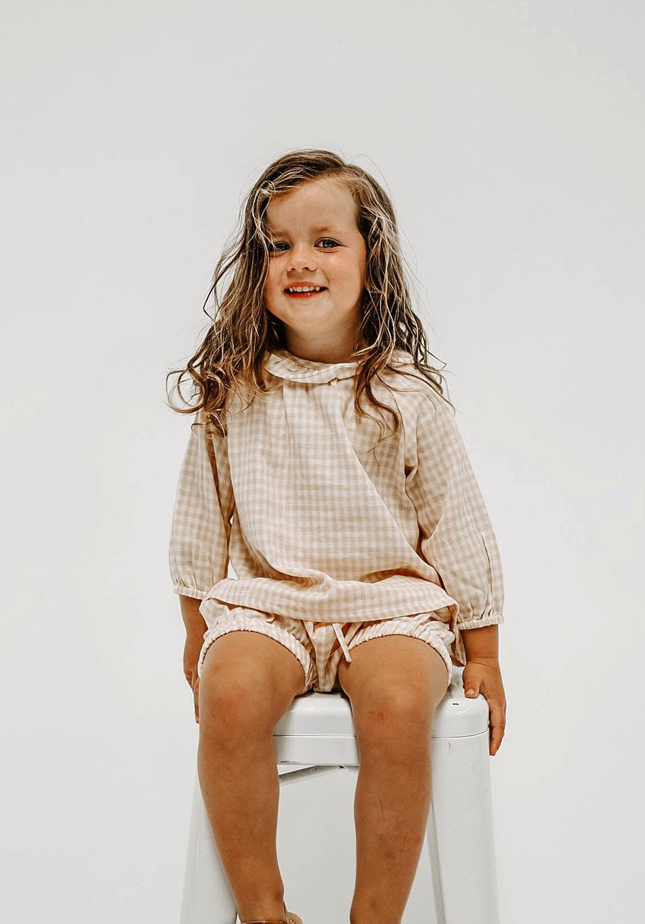 Miann & Co Kids - Frill Flowy Top - Antique Gingham