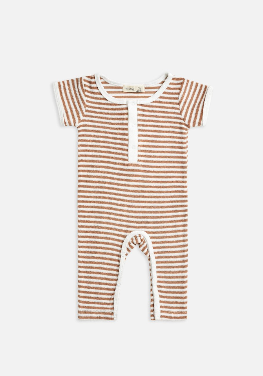Miann & Co Baby - Terry Towelling Boilersuit - Café Au Lait Stripe