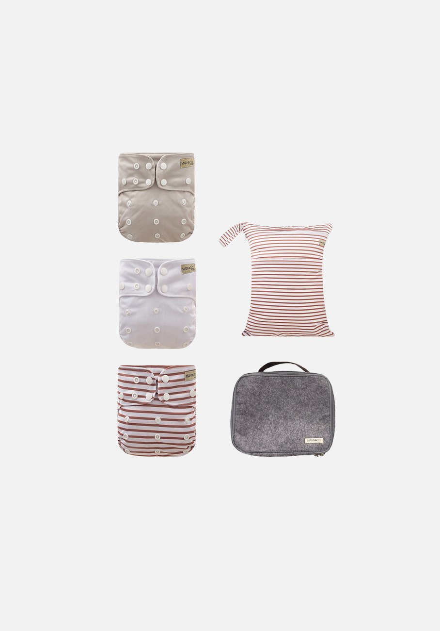 Modern Cloth Nappies - The Essentials - Cafe Au Lait Stripe