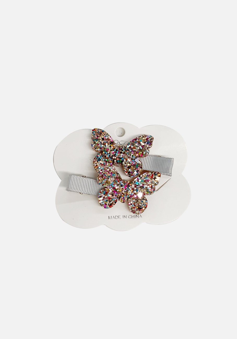 Glitter Clip - Sliver Butterfly