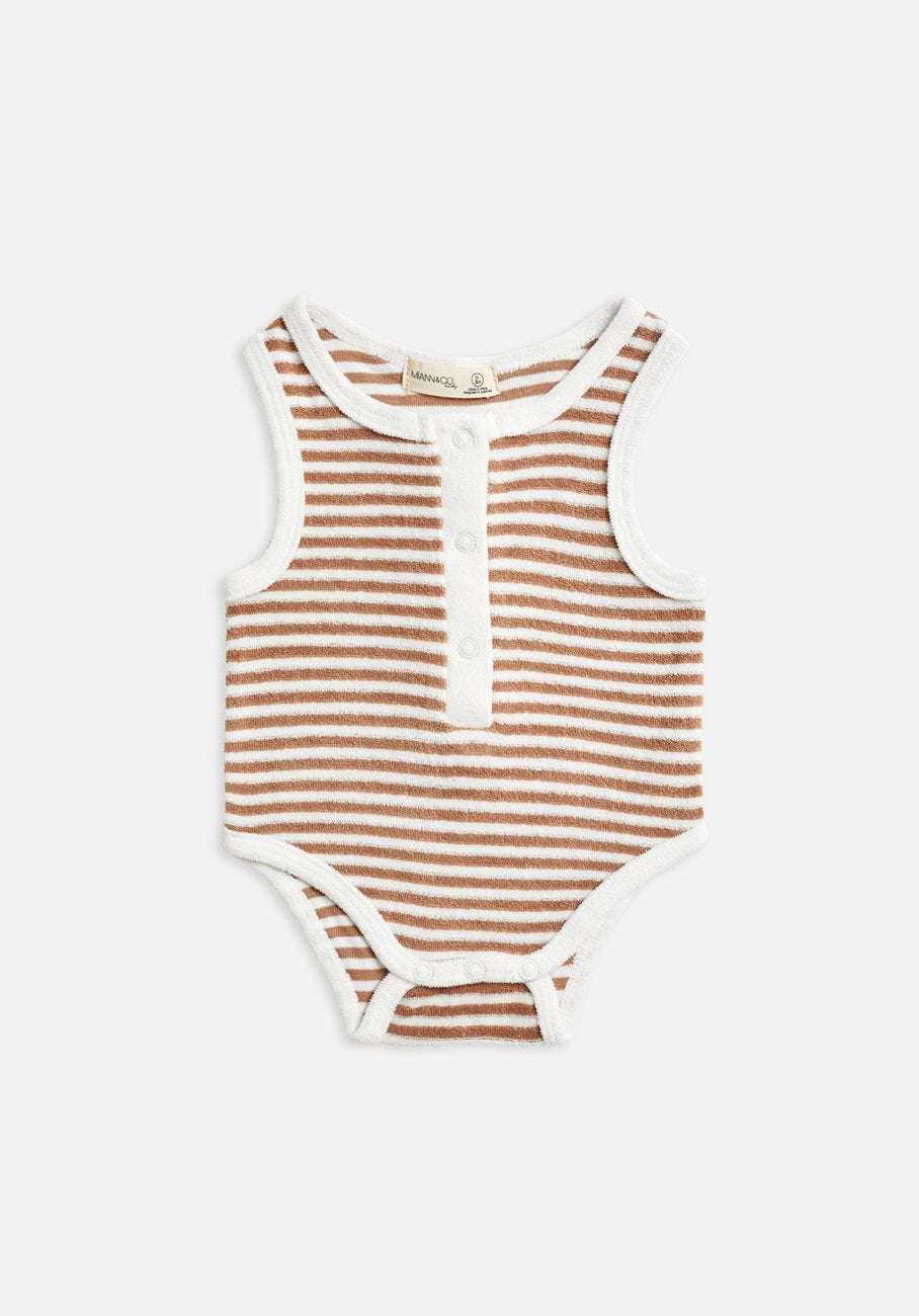 Miann & Co Baby - Terry Towelling Sleeveless Suit - Café Au Lait Stripe