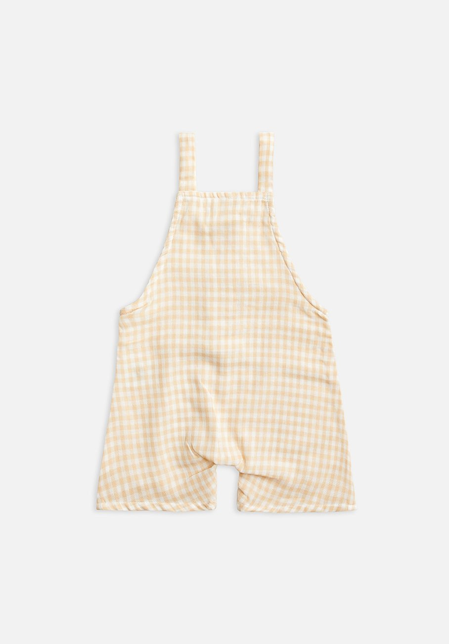 Baby yellow gingham cropped overall
