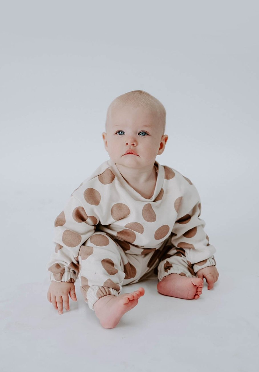 Miann & Co Baby - Organic Cotton Baby Basics - Polar Fleece Jumper - Cinnamon Spot