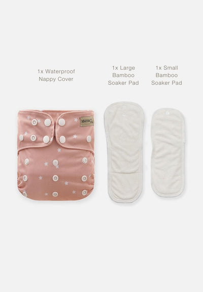 Miann & Co - Reusable Cloth Nappy - Rosewater Star
