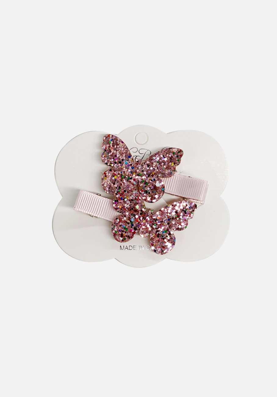 Glitter Clip - Pink Butterfly