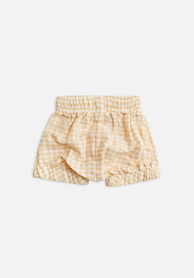 kids yellow gingham bloomer shorts