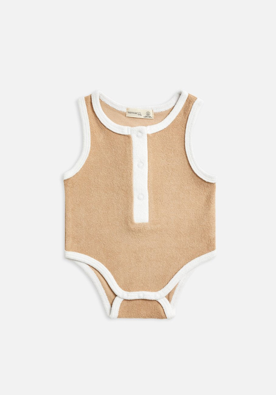Miann & Co Baby - Terry Towelling Sleeveless Suit - Clay