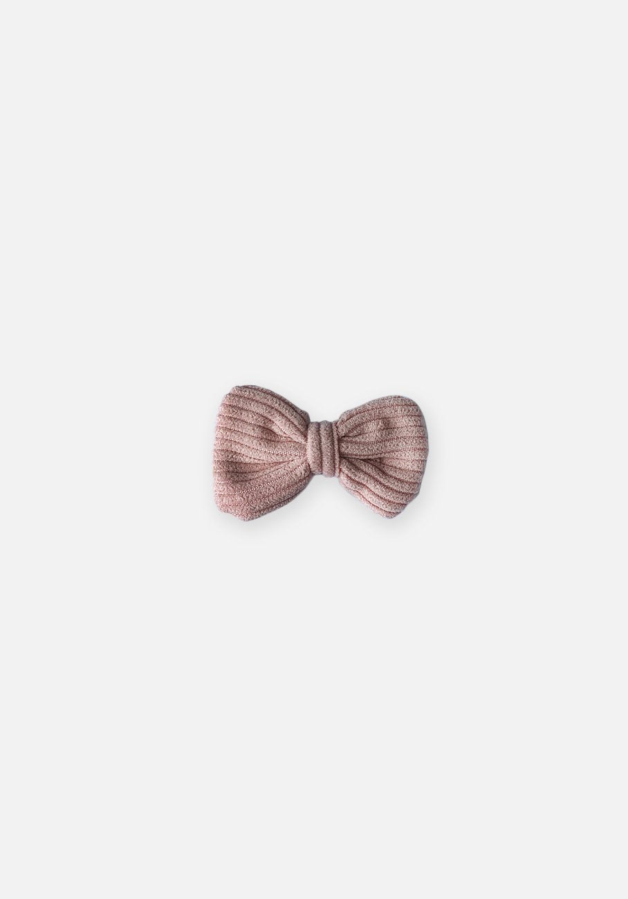 Cord Bow Hair Clip - Pastel Pink