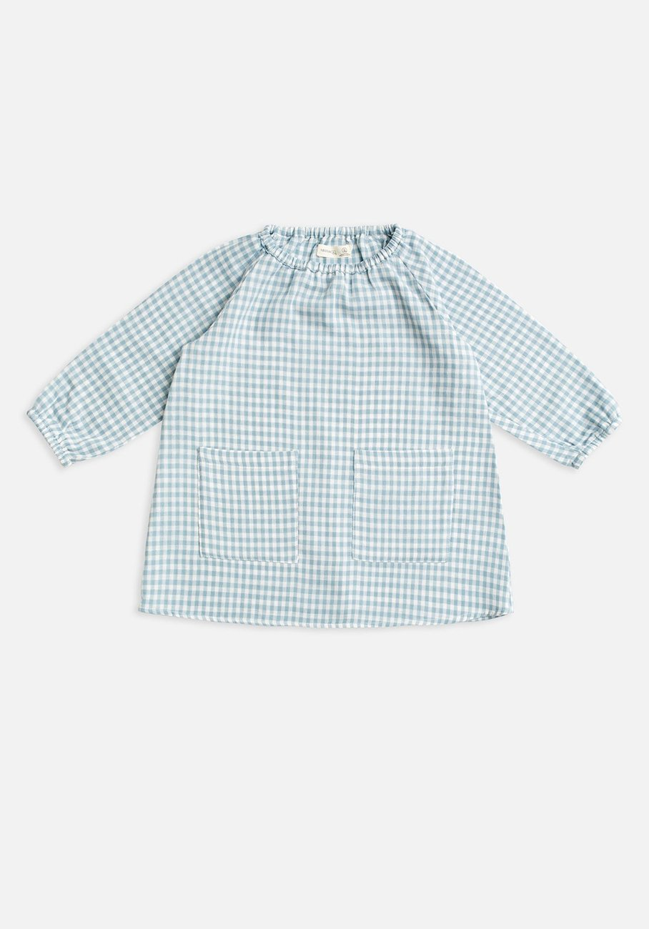kids blue gingham smock dress