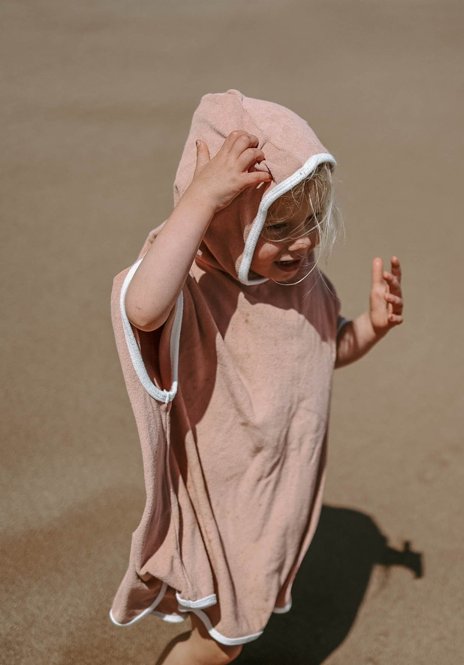 Miann & Co - Terry Towelling Hooded Poncho - Blush