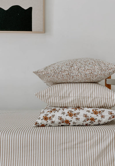 Miann & Co - Single Duvet Cover - Café Au Lait Stripe