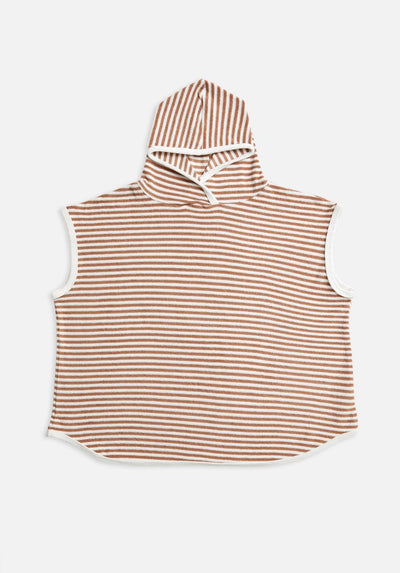 Miann & Co - Terry Towelling Hooded Poncho - Café Au Lait Stripe