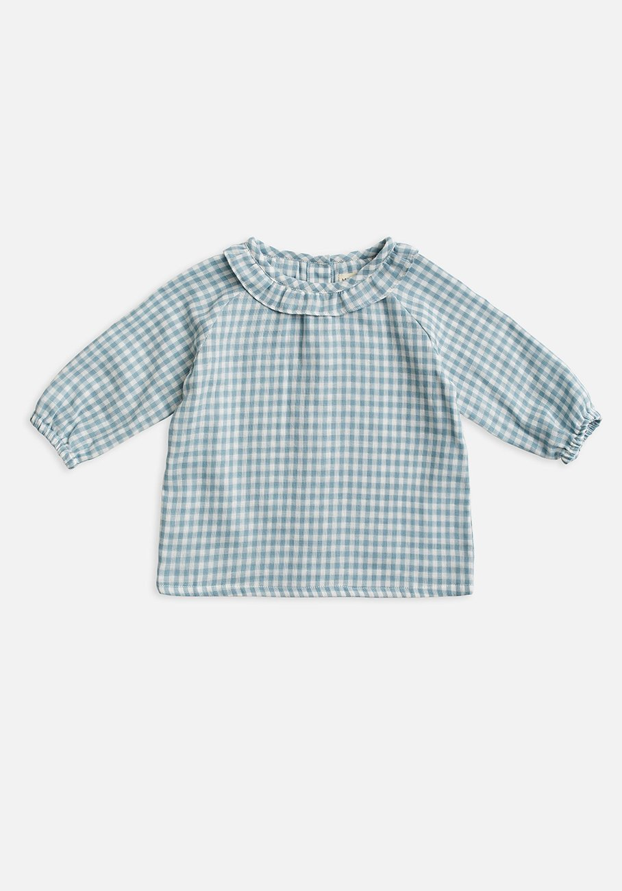 kids blue gingham shirt