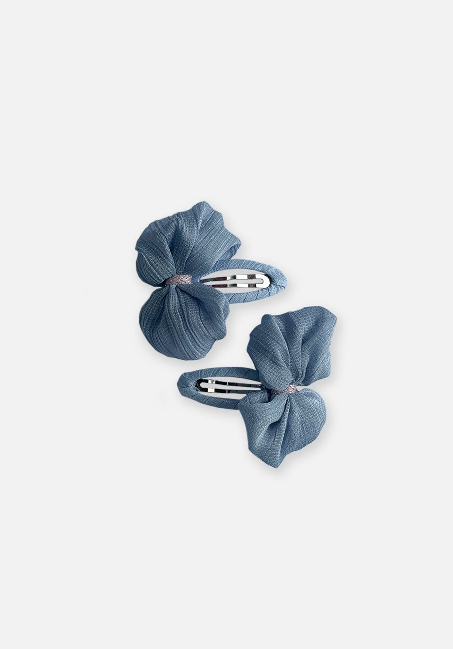 Dainty Bow Hair Clip - Riverside