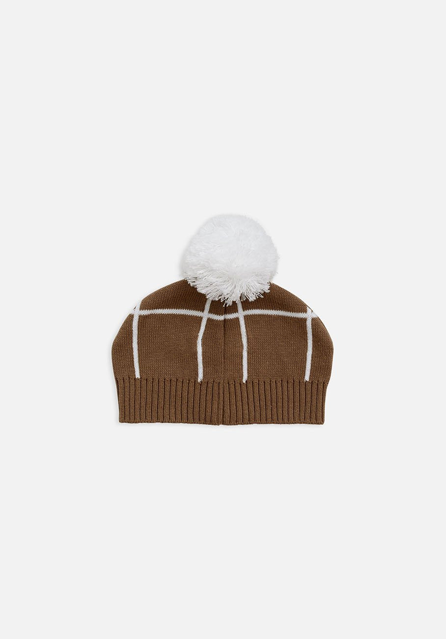 beanie brown grid pom pom