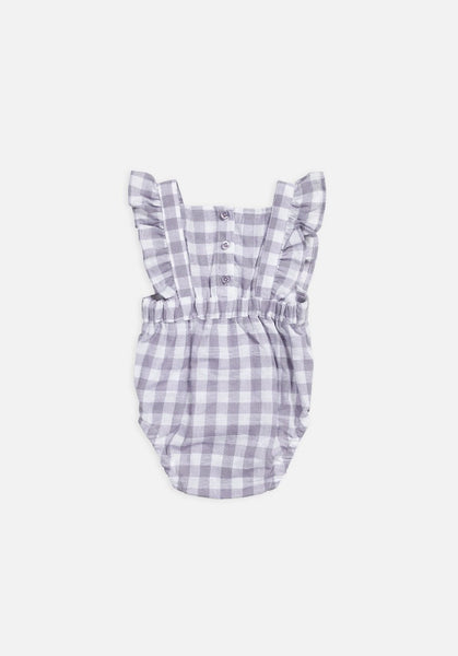 Miann & Co Baby – Frill Bodysuit – Lavender Grey Gingham - MIANN & CO