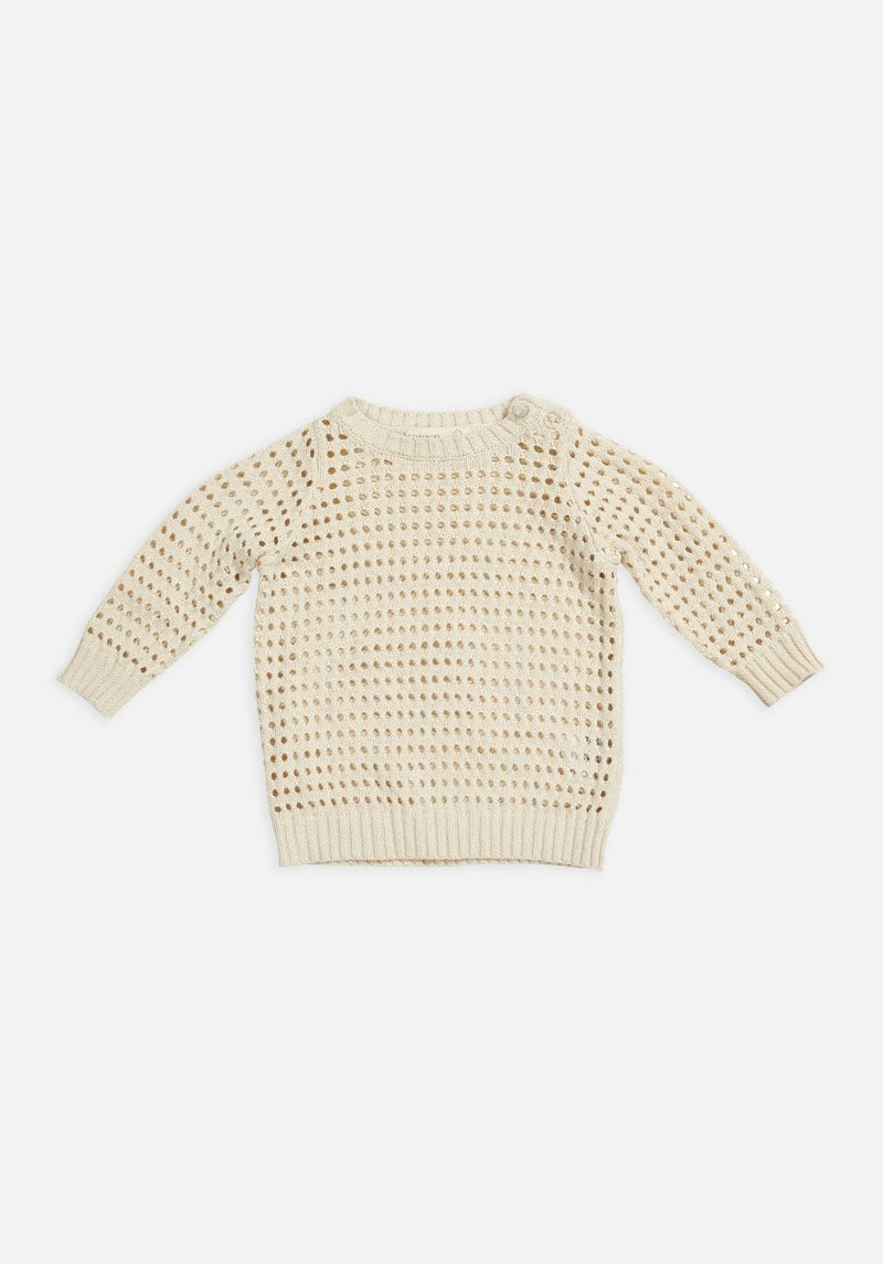 kids - open knit jumper in egg nog