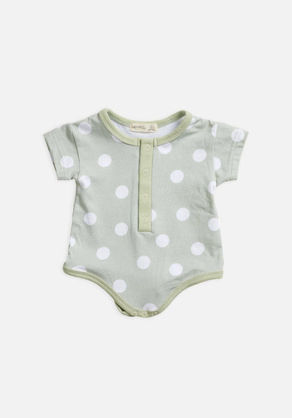 Miann & Co Baby Bodysuit - Fog Green Spot Print Short Sleeve - MIANN & CO