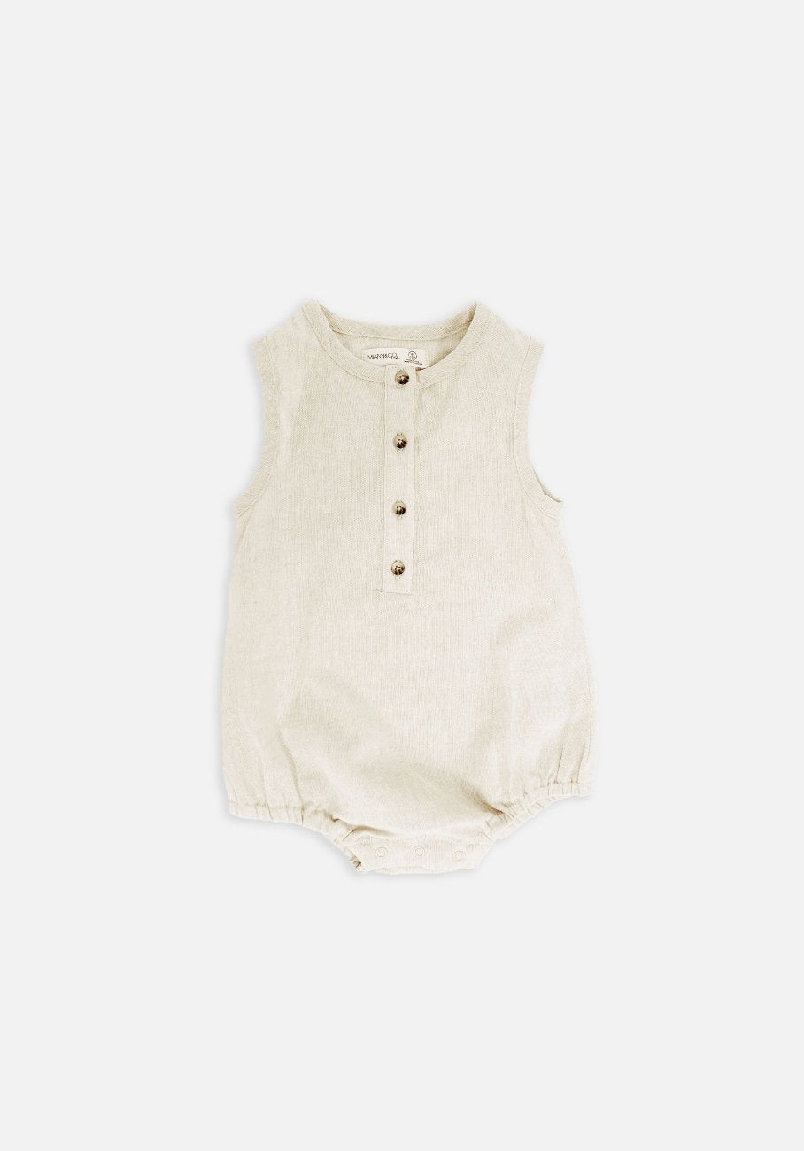 Miann & Co Baby – Sleeveless Suit – Natural Linen - MIANN & CO