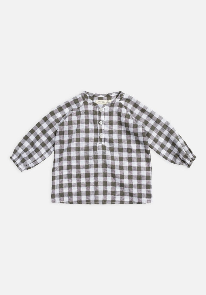 Miann & Co Baby – Raglan Long Sleeve Flowy Shirt – Seagrass Gingham - MIANN & CO