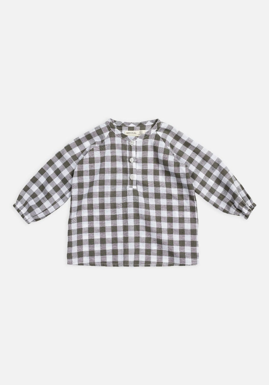 Miann & Co Kids - Raglan Long Sleeve Flowy Top - Seagrass Gingham