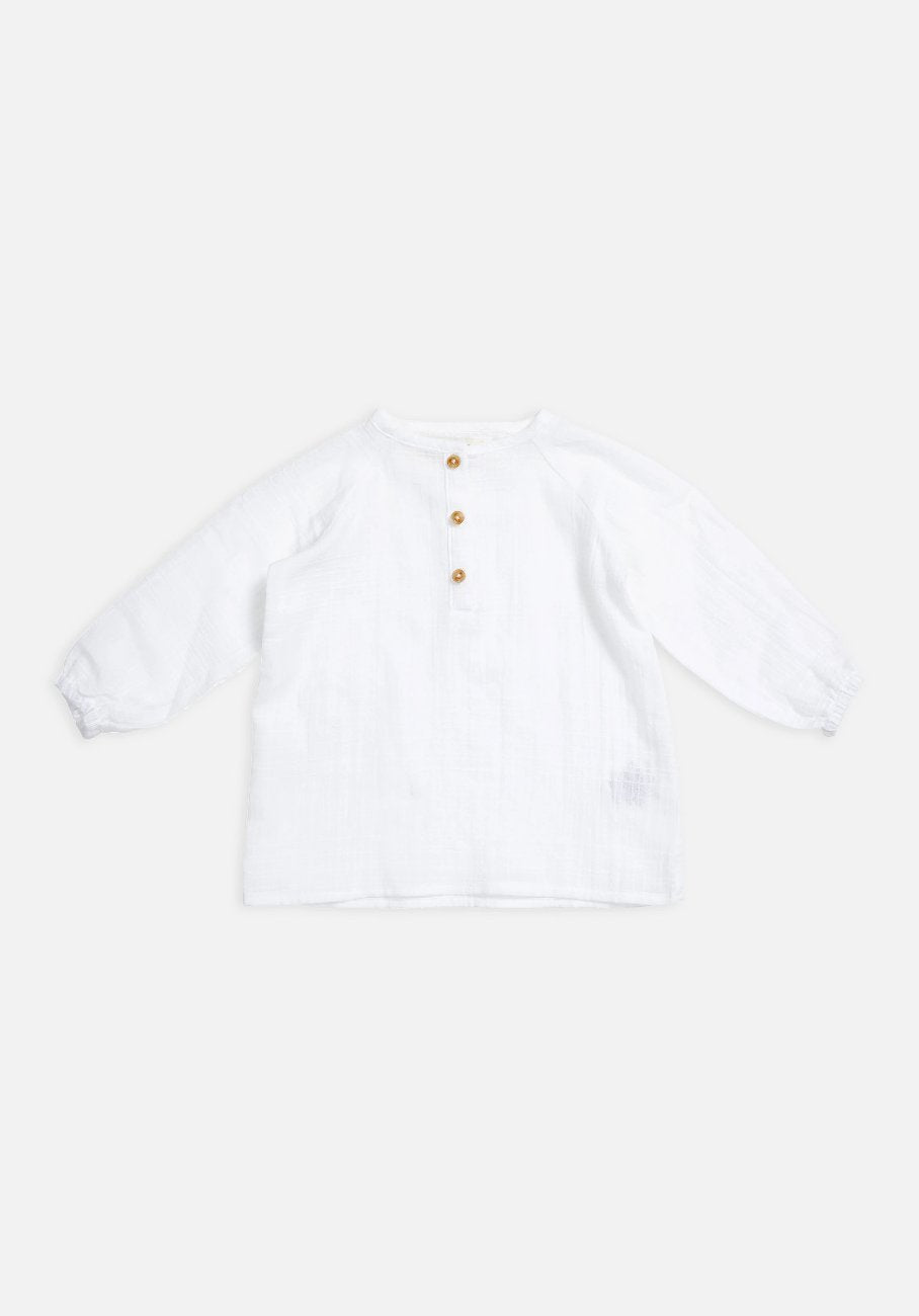 Miann & Co Baby – Raglan Long Sleeve Flowy Shirt – Textured White - MIANN & CO