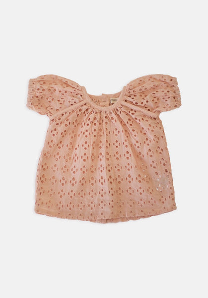 Miann & Co Kids - Broderie Short Sleeve Top - Peach