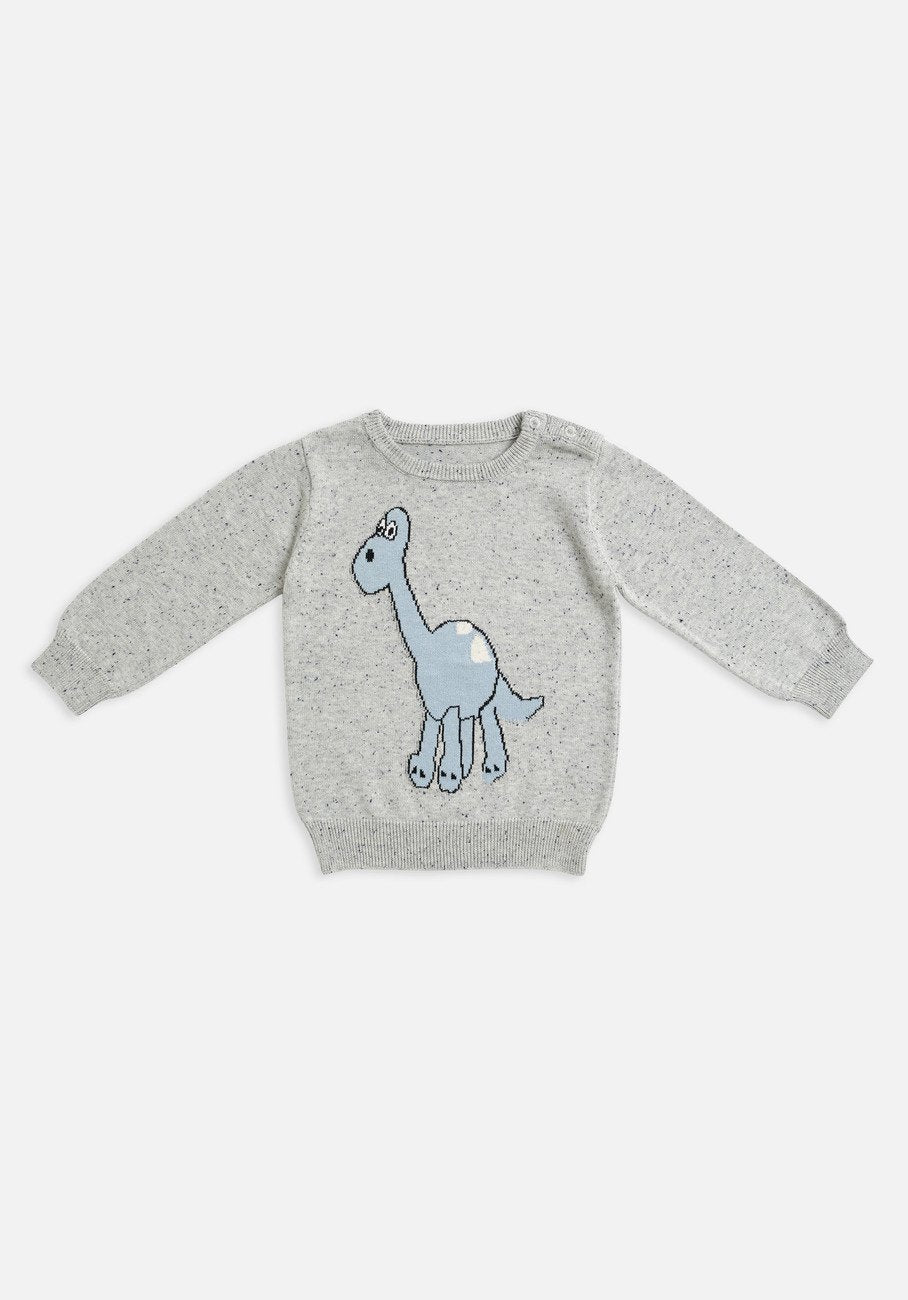baby grey blue dinosaur knit jumper