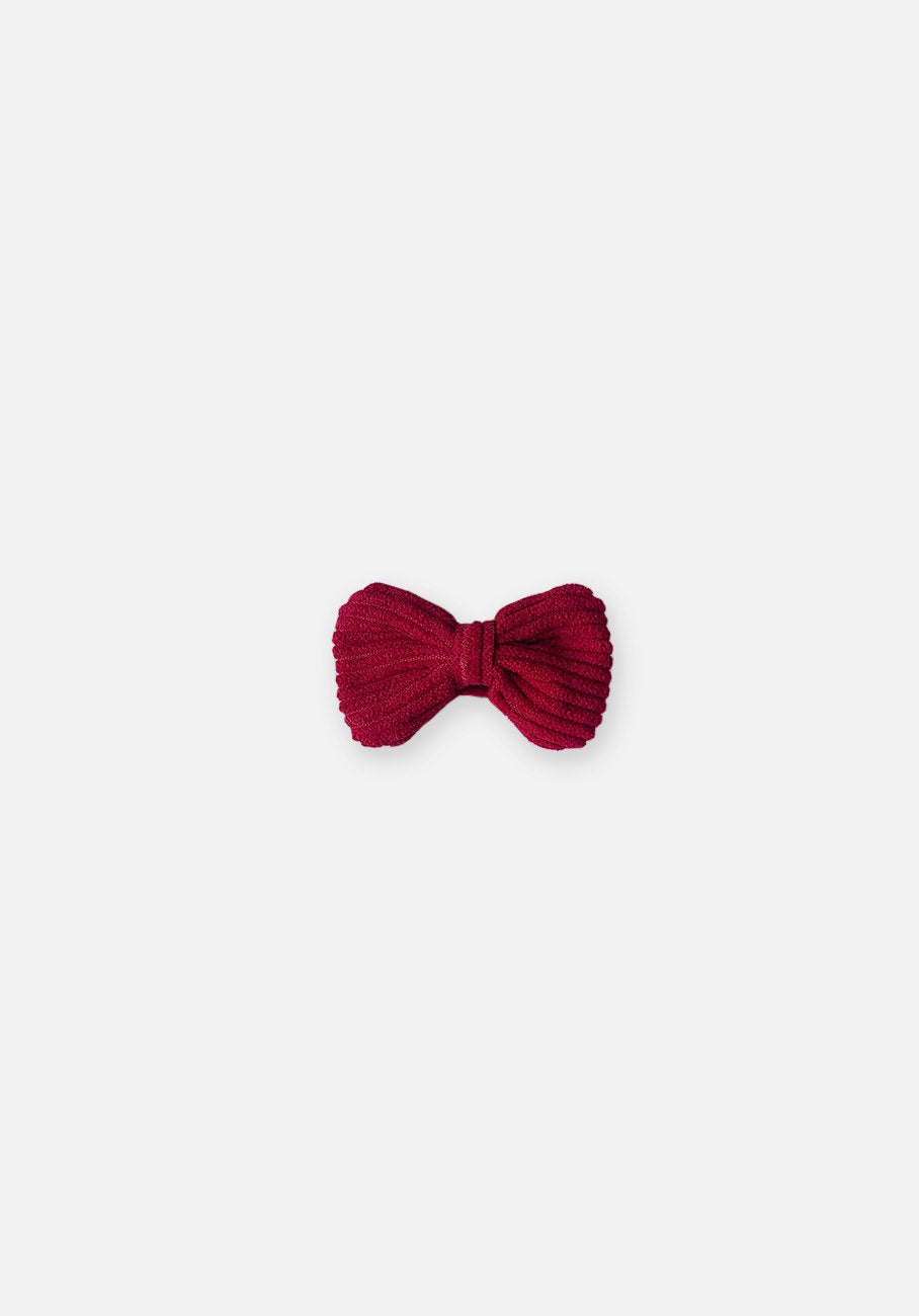 Cord Bow Hair Clip - Ruby Red